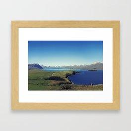 She felt tiny in Lake Tekapo Framed Art Print