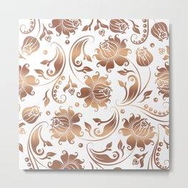 Light Copper & White Floral Damasks Metal Print