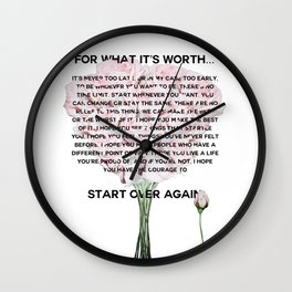 for what it's worth -  Fitzgerald life quote Wall Clock