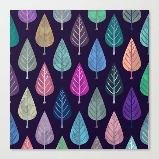 Watercolor Forest Pattern IV Canvas Print