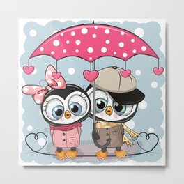 Penguin Couple Metal Print