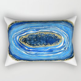 Cobalt blue and gold geode in watercolor Rectangular Pillow