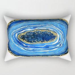 Cobalt blue and gold geode in watercolor Rectangular Pillow