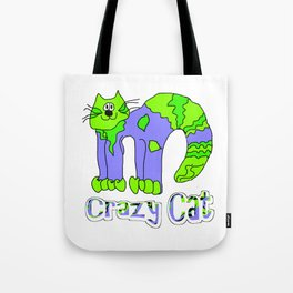 Crazy Cat Green Blue Earth Tote Bag