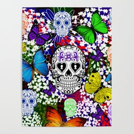 b0a9f8af6 Day Of The Dead , Butterflies and Sugar Skulls Poster