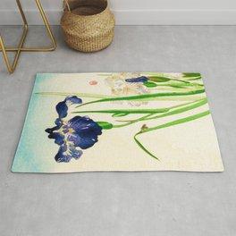 Blue Iris Japanese Watercolor Print Rug