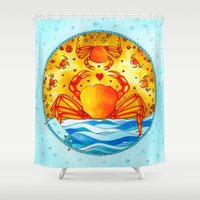 cancer Shower Curtains featuring Cancer by Sandra Nascimento