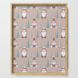 CHRISTMAS GNOMES - light pink Serving Tray