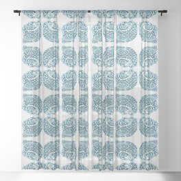 Bluefish Fish India Block Print Boho Sheer Curtain
