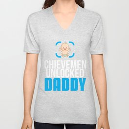 New Dad Gift Achievement Unlocked Dad Present for First Time Dad Unisex V-Neck