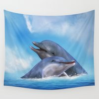 dolphins Wall Tapestries featuring Dolphins by Susann Mielke