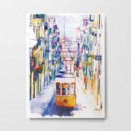 Lisbon Watercolor Cityscape Metal Print