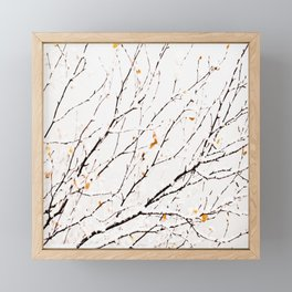 Snowy birch twigs and leaves #society6 #decor #buyart Framed Mini Art Print