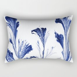 Painted Flowers In Blue Rectangular Pillow