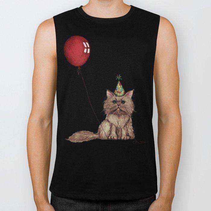 Balloon Love: Kitty Celebration Biker Tank