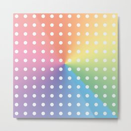 White Polka Dots On Pastel Color Spectrum Metal Print