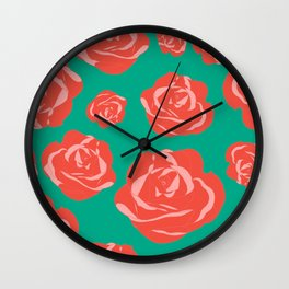 Dusty Rosy Roses and Pinks on Teal Wall Clock