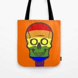 Gay Pride Rainbow Halloween Skull Skeleton Tote Bag