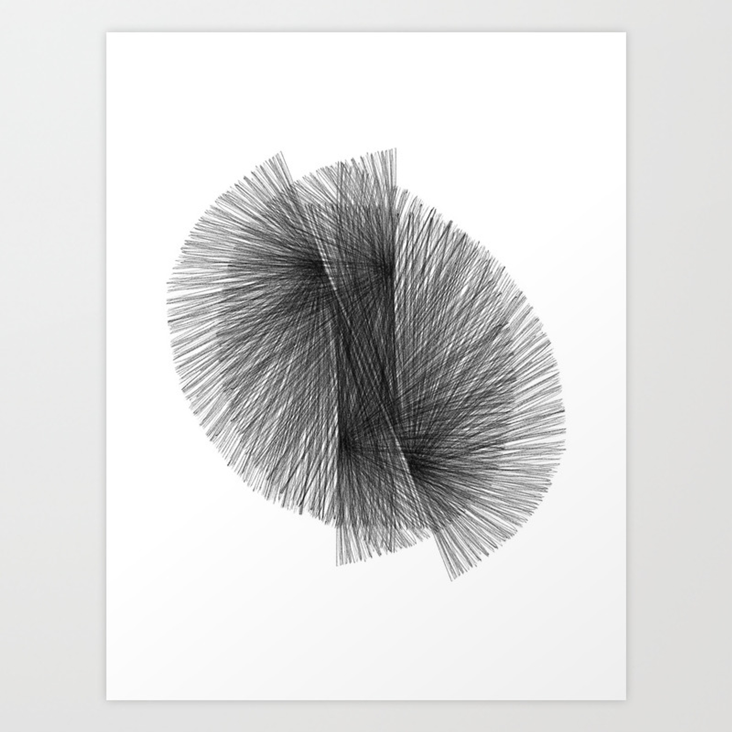 Black white radiating lines mid century modern geometric abstract art print