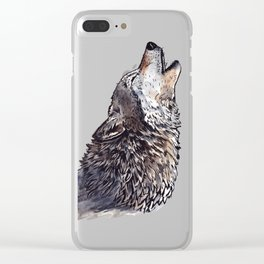 Howling Wolf - watercolor Clear iPhone Case