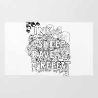 rave Area & Throw Rugs featuring Ink Sleep Rave Repeat by Ink Bubble
