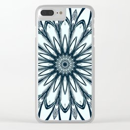 Black and White w/Teal Accent Mandala Clear iPhone Case