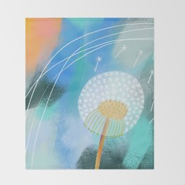 Blue Dandelion Puff Throw Blanket