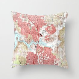 Escondido California Map (1996) Throw Pillow