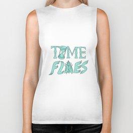 Time Flies Drawing Biker Tank