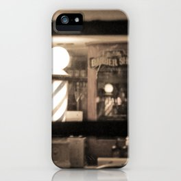 Barber Shop at Night iPhone Case