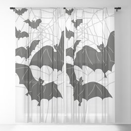Black Bats with Spider Web Halloween Sheer Curtain