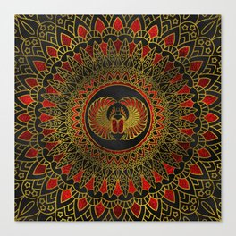 Egyptian Scarab Beetle - Gold and red  metallic Canvas Print