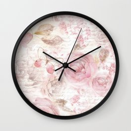 Vintage pastel pink brown butterfly floral typography Wall Clock