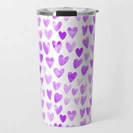 Watercolor Hearts purple pantone love pattern design minimal modern valentines day Travel Mug