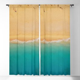 turquoise ocean wave sandy beach Blackout Curtain