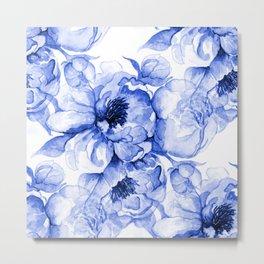 Royal Blue Peonies Metal Print