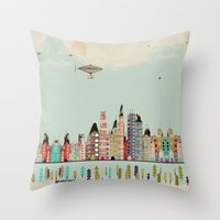 minneapolis Throw Pillows featuring visit minneapolis minnesota by bri.buckley