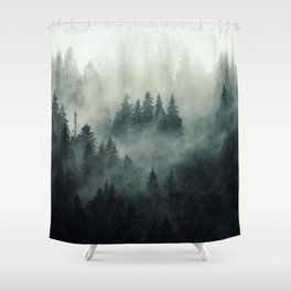 Misty pine fir forest landscape in hipster vintage retro style Shower Curtain