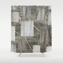 Nature Print Neutral Leaves and Squares Shower Curtain