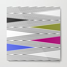 Abstract black and white Zigzag pattern of Multicolored triangles . 2 . Metal Print