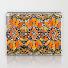 Celebrating the 70's - tangerine orange watercolor on grey Laptop & iPad Skin