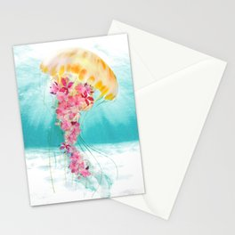 Jellyfish with Flowers Stationery Cards