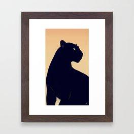 Sunset Black Panther Framed Art Print