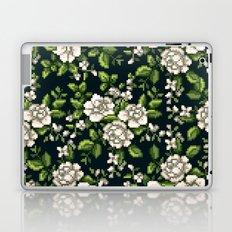 Pixel Floral - White on Black Laptop & iPad Skin