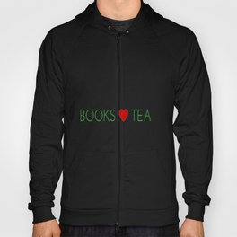 Books Love Tea Green Lettering with Red Heart Hoody