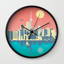 Toronto City Skyline Art Illustration - Cindy Rose Studio Wall Clock