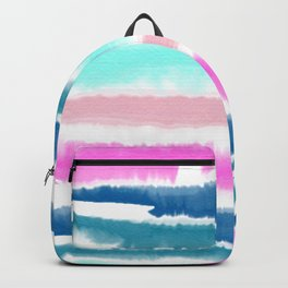 Modern hand painted watercolor pink blue stripes pattern Backpack