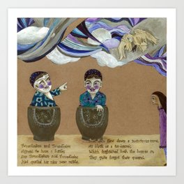 Tweedldum and Tweedledee Art Print