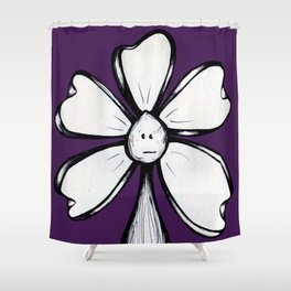 """Blank Face"" Flowerkid Shower Curtain"