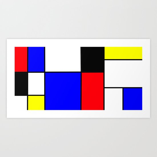 Red Blue Yellow squares design Art Print